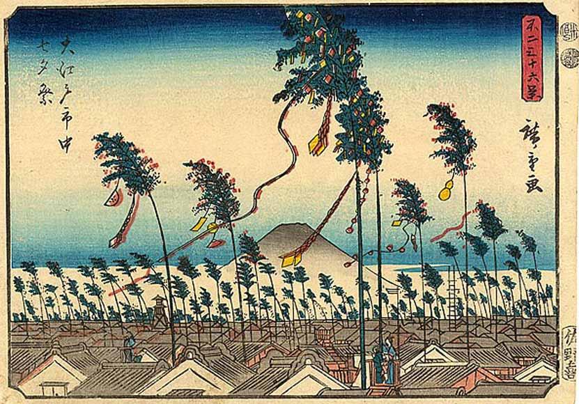 Il festival di Tanabata nel periodo Edo ritratto da Hiroshige (1852)