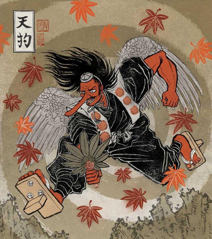 mostro giapponese tengu, yokai