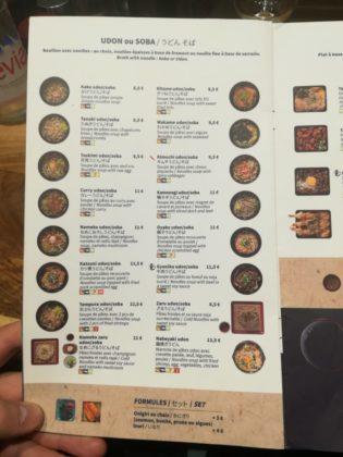 Menu ristorante giapponese Kintaro a parigi