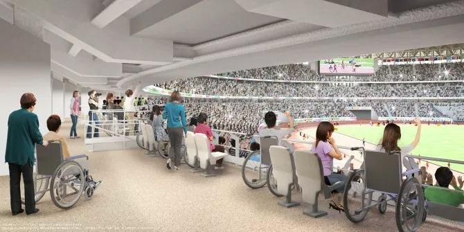 render della terrazza per i disabili del nuovo stadio olimpico