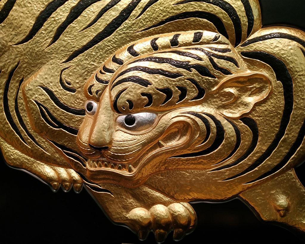 effige di tigre esposta nel castello di Osaka