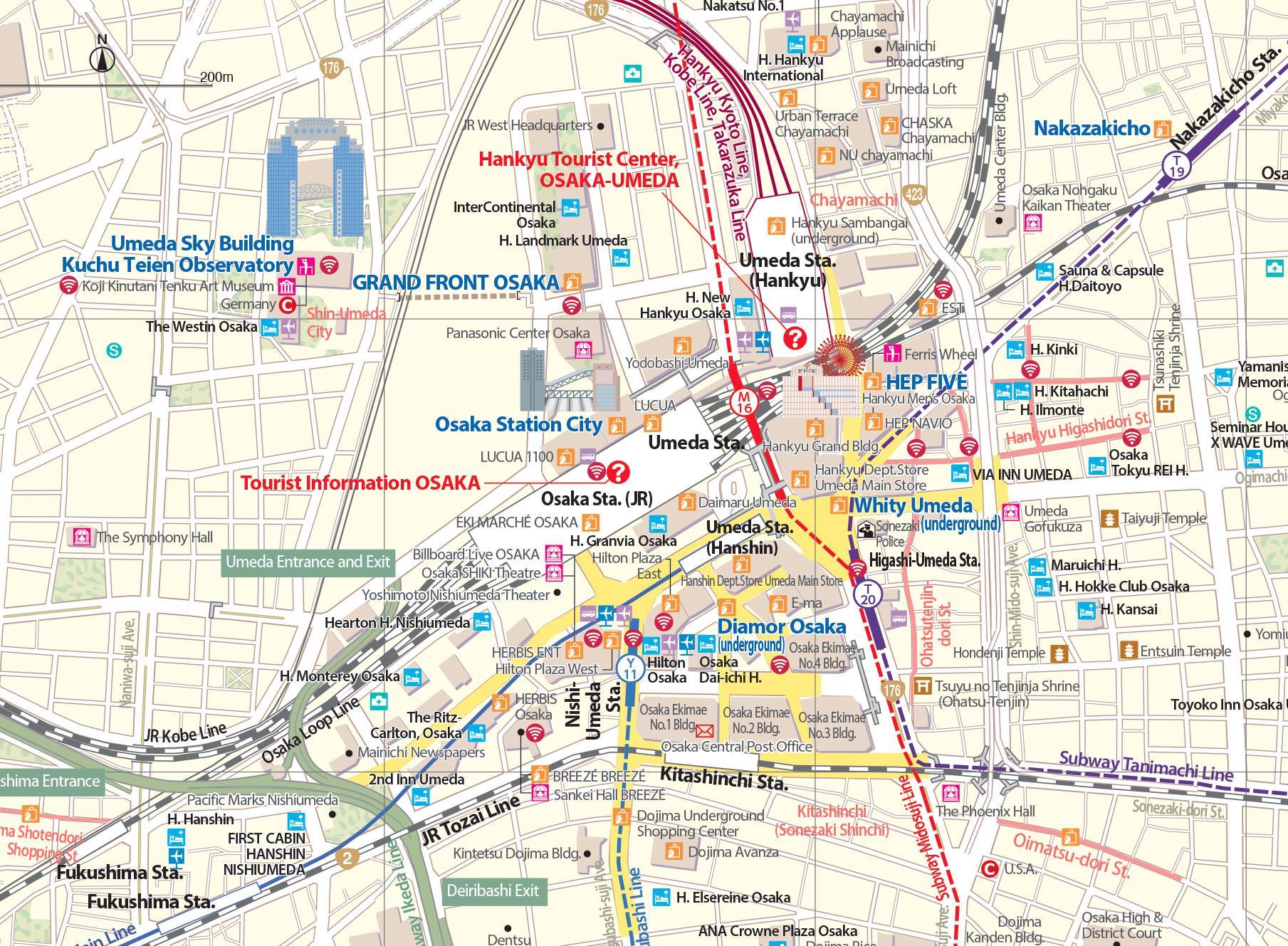 mapa zona umeda shopping osaka
